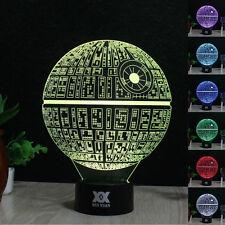 Star Wars Death Star 3D Acrylique LED Nuit Lumière Veilleuse Lampes de Table
