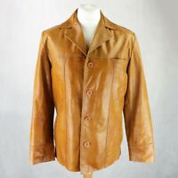 Mens 100% Real Leather Jacket Size MEDIUM Tan Brown Button closure Collared