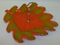 Vintage California Pottery Retro Orange Green Autumn Leaf Serving Dish