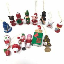 Vintage Miniature Wooden Christmas Tree Ornaments Lot of 14