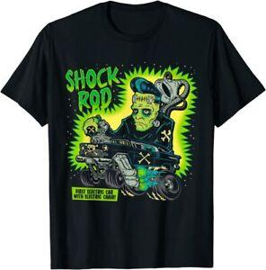 Frankenstein Shock Rod Gasser Horror Psychobilly Punk Art T-Shirt Black S-5XL