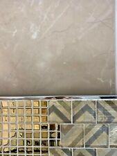 SAMPLE Floor & wall porcelain tile - liquid white design, beige 2    10.5 mm