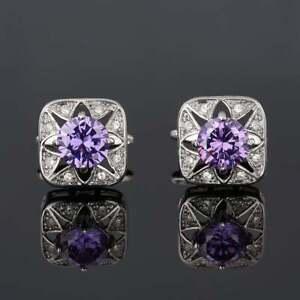 Beautiful Edwardian Vintage Style Light Purple Sapphire & Round Cut CZ Cufflinks