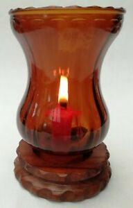 Rustic Wood & Amber Glass Vintage Candle Holder Hurricane Lamp