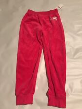 New Juicy Couture Girls Kids Velour Pants  Joggers Size 6 Bling Hot Pink