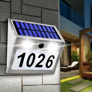 Outdoor House Number Plaque Solar Light 200LM LED Address Lighting Motion Sensor