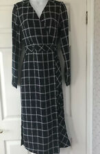 New Next Tailored Navy  Checked Wrap Over  Midi  Dress Side Splits Size 16  £55