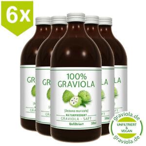 6 x 100% STACHELANNONE / ANNONA MURICATA SAFT- GRAVIOLA SAFT,  UNFILTRIERT/ 6 x