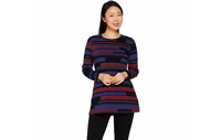 Denim & Co. Striped Perfect Jersey Round Neck Long Sleeve Tunic Blk XXS A298777j