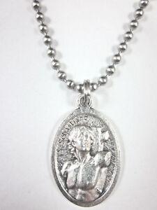 "St Sebastian Medal Italy Pendant Necklace 24"" Ball Chain Gift Box & Prayer Card"