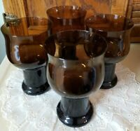 "Vintage Lenox Clarion Dark Brown 4 Water/Tea Glasses 16 oz. 6"" Tall Excellent"