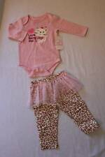 NEW Baby Girls 2p Set 3 - 6 M Pink Bodysuit Leopard Pants Tutu LS Top Outfit Cat