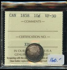 1858 Province of Canada Ten Cents - ICCS VF-30 - Nice Details