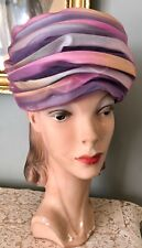 Vintage Christian Dior Pastel Silk Turban Hat W/ Lavender Tulle Overlay
