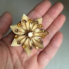Vintage COSTUME Jewellery GOLD Tone 3D Amber TOPAZ Rhinestone FLOWER Brooch