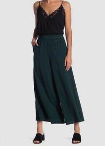 $269 Elodie Womens Green Wide Leg High Waist Trousers Slacks Dress Pants Size XL