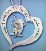 """Disney Eeyore Heart Quote Necklace. """"Some Days Look Better Upside-down"""" Two tone"""