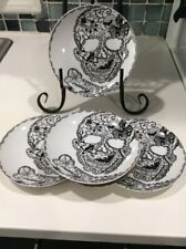 222Fifth Wiccan Lace Black And White Halloween Skull  Appetizer Dessert Plates