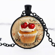 Cupcake Black Dome Glass Cabochon Necklace chain Pendant #91