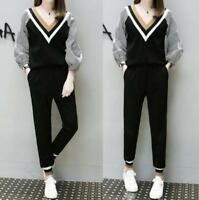 Womens Two Piece Set Top+Pants Long Ruffled Sleeves Casual Pants Suit Tracksuit