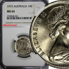 Australia Elizabeth II Copper-Nickel 1973 10 Cents NGC MS64 Lyrebird KM# 65