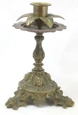 Vintage Bronze Art Deco Footed Candle Stick Holder, Detailed