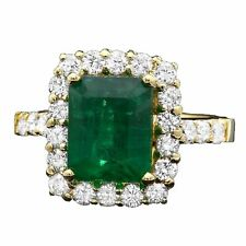 4.30Ct Natural Emerald & Diamond 14K Solid Yellow Gold Ring