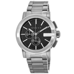 New Gucci G-Chrono Black Dial Stainless Steel Men's Watch YA101204