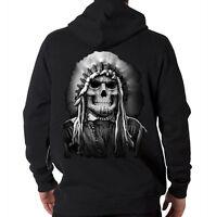 Native American Indian Chief Skull Headdress Heritage Hooded Sweatshirt Hoodie