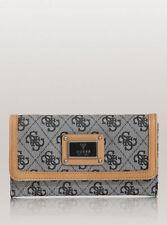 NWT GUESS Scandal Wallet Purse Clutch Black Grey Slim Small Logo print