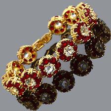 Xmas Rhinestone Round Cut Red Ruby Tennis Statement 18K Gold Plated Bracelet