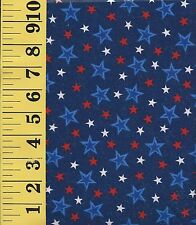 PATRIOTIC STARS ~ RED WHITE & BLUE Silver Highlights Cotton Fabric ~ BTFQ 18x22