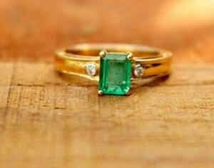 925 Sterling Silver Natural Emerald Gemstone Octagon Shape Solitaire Men Ring