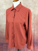 Orvis Wrinkle Free Button Front Long Sleeve Orange Check Top Blouse Women's 10