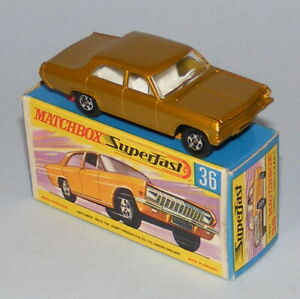 MATCHBOX SUPERFAST #36a OPEL DIPLOMAT DARK GOLD WITHOUT SILVER GRILLE MINT BOXED