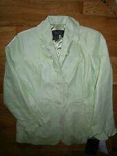 NWT Terry Lewis Leather Button Coat Blazer Jacket Size 1X LIME Green Ruffle Edge
