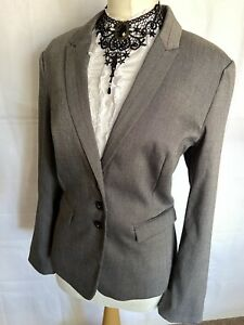 NEXT 18 Ladies Mid / Light Grey Smart Blazer / Jacket With Silky Floral Lining