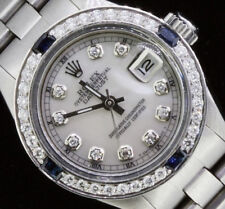 Rolex Ladies Datejust Oyster Perpetual Steel Diamond Dial Bezel Sapphire Watch.