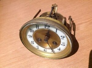ANTIQUE FRENCH DRUM CLOCK MOVEMENT FOR SPARE PARTS 118mm Diam. For Aperture 106