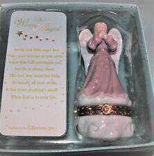 Roman porcelain hinged box, pink angel on cloud, praying, all year, trinket box