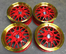 """15"""" ruedas Cades Eros 4X100 VW Golf MK1 MK2 Lupo Caddy 4x100 Oro Rojo Labio"""