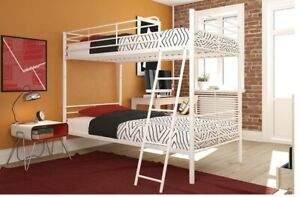 DHP Convertible Twin over Twin Metal Bunk Bed, Silver