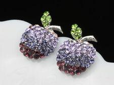 Apple green leaf amethyst purple swarovski element crystal stud earrings new T08