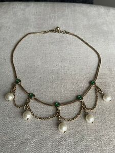 Beautiful New Emerald With Pearls Zara Gems Statement Necklace