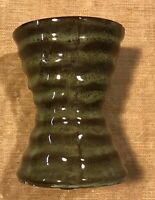 "Hourglassribbed Pottery Vase 4 1/2 X 3 1/4"" Nice Neutral Colors!"