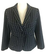 The Limited Navy & White Polka Dot Career Blazer Jacket Women's Size S NWT