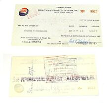 Pepsi-cola cheque Payroll Check estados unidos 1960er con Bottle Cap tapita imagen