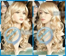 COS Wig New Wig Mix Blonde Wig Long Curly Hair Wig Oblique Bangs