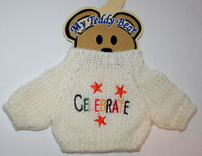 Celebrate Theme Plush Teddy Bear Knit Sweater Outfit fits 11-13 inch New