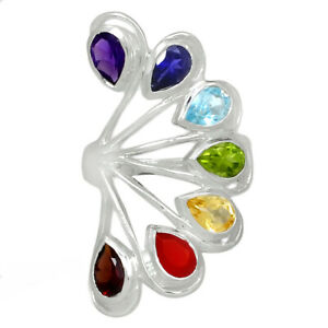 Healing Chakra 925 Sterling Silver Jewelry Ring s.6.5 AR166388